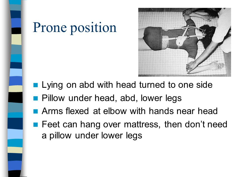 Prone position Lying on abd with head turned to one side Pillow under head, abd, lower legs Arms flexed at elbow with hands near head Feet can hang ov