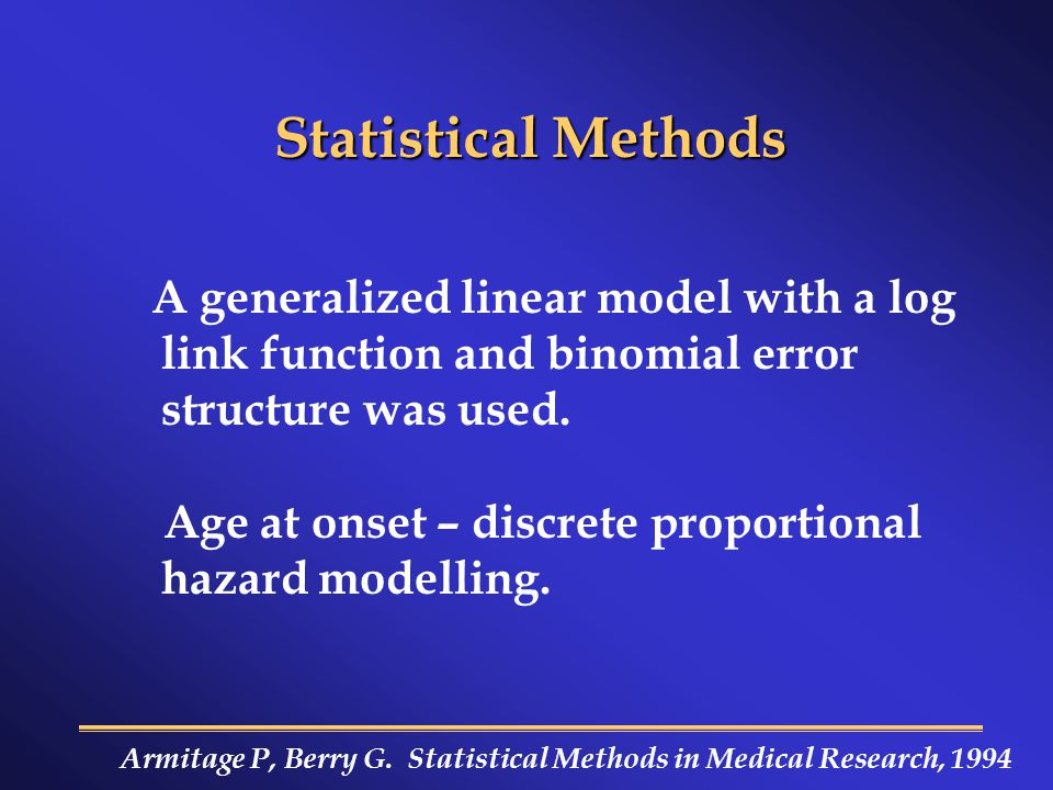 Statistical Methods A generalized linear model with a log link function and binomial error structure was used.