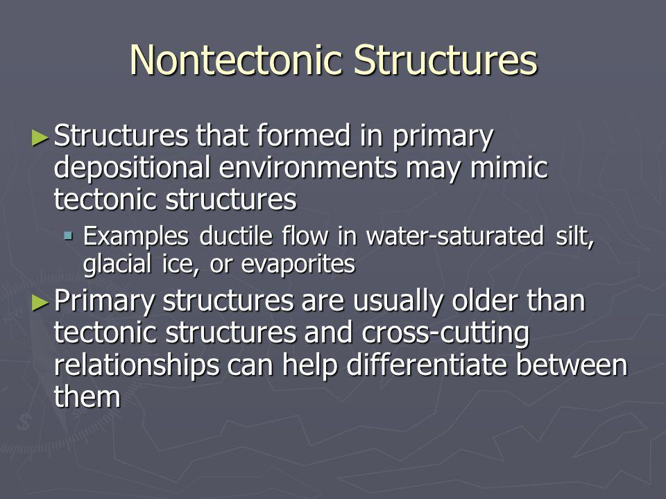Tectonic vs Nontectonic Structures Slumping Soft-sediment folds Tectonic folds
