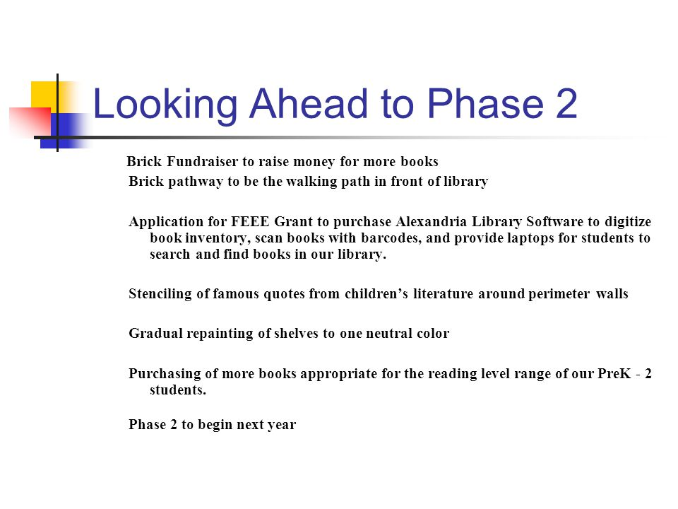 Looking Ahead to Phase 2 Brick Fundraiser to raise money for more books Brick pathway to be the walking path in front of library Application for FEEE
