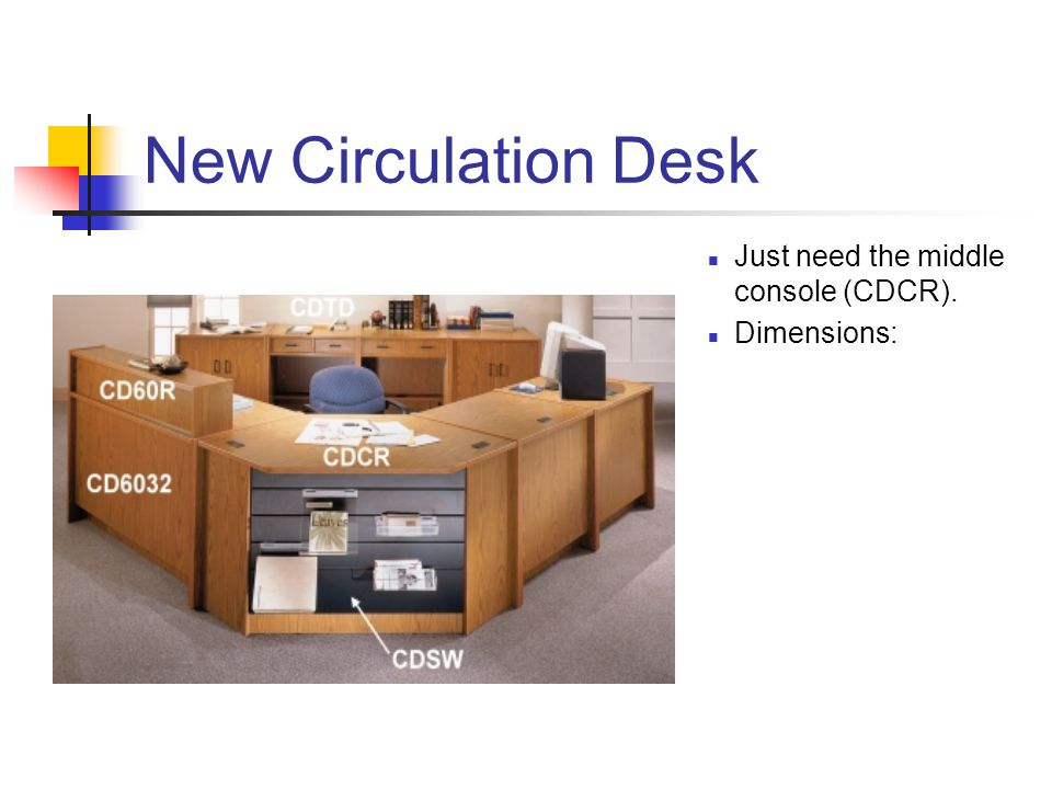 New Circulation Desk Just need the middle console (CDCR). Dimensions: