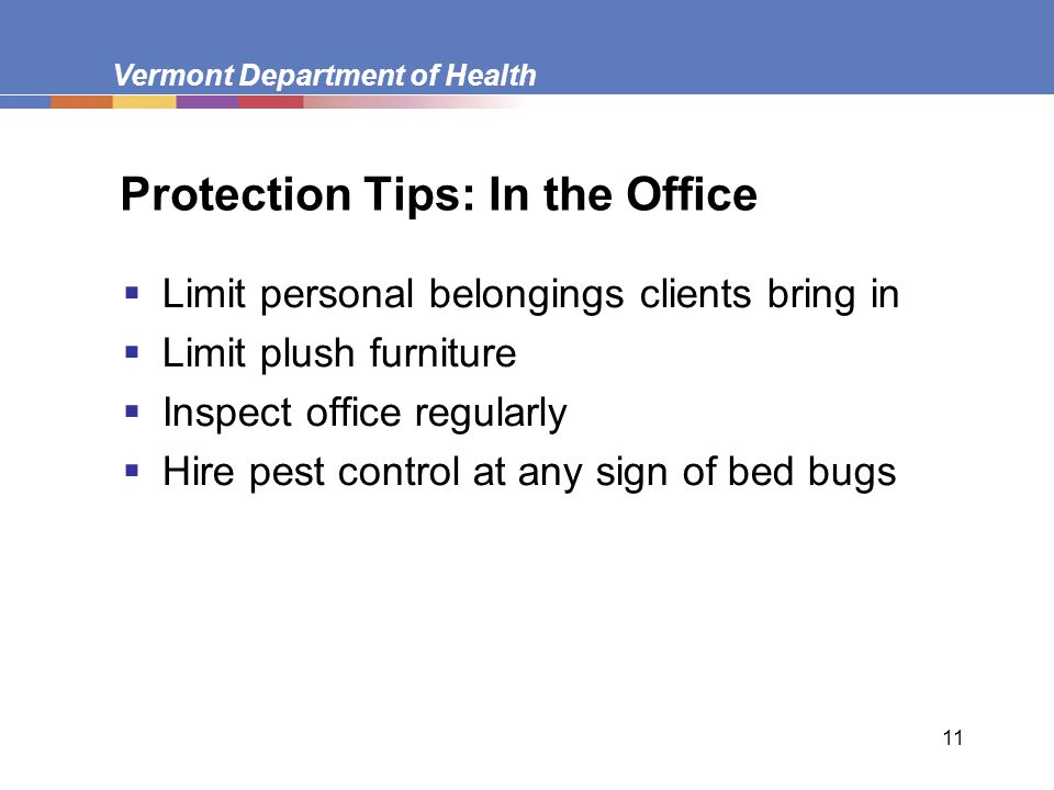 Vermont Department of Health 11 Protection Tips: In the Office  Limit personal belongings clients bring in  Limit plush furniture  Inspect office r