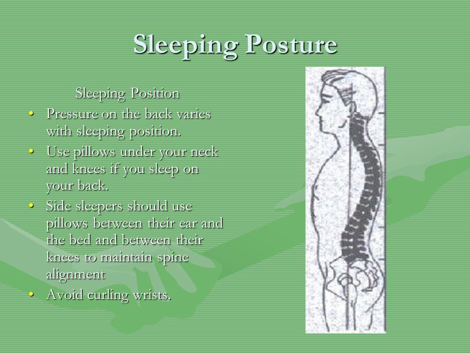 Sleeping Posture Sleeping Position Pressure on the back varies with sleeping position.Pressure on the back varies with sleeping position.