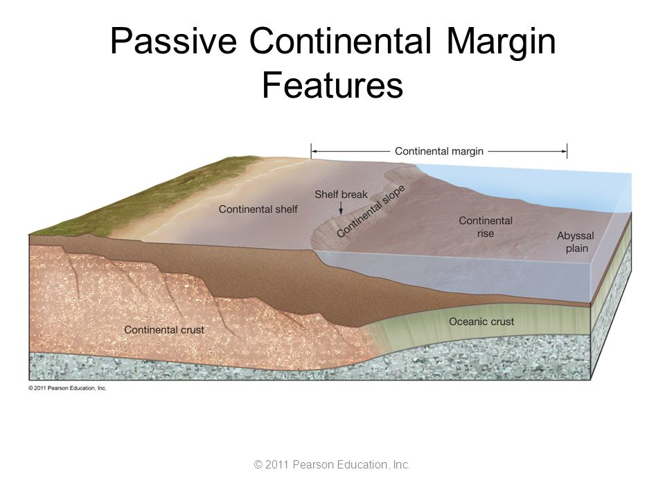 © 2011 Pearson Education, Inc. Passive Continental Margin Features