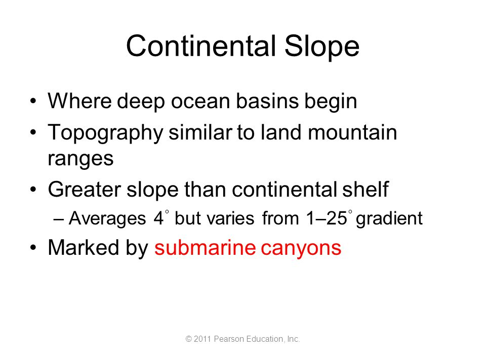 © 2011 Pearson Education, Inc. Continental Slope Where deep ocean basins begin Topography similar to land mountain ranges Greater slope than continent