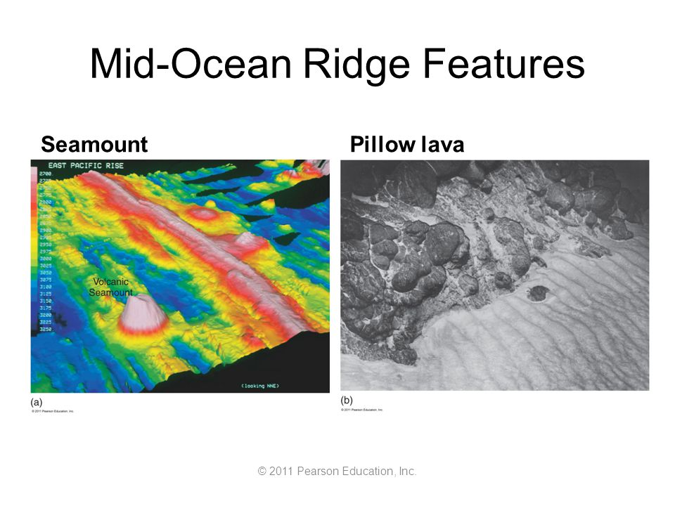 © 2011 Pearson Education, Inc. Mid-Ocean Ridge Features SeamountPillow lava