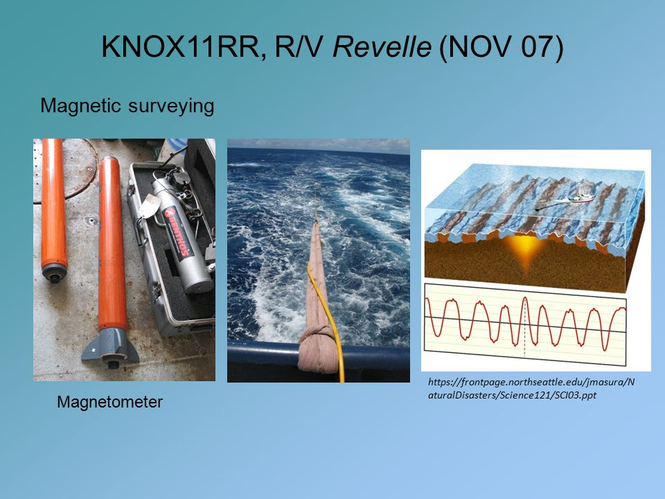KNOX11RR, R/V Revelle (NOV 07) Magnetic surveying Magnetometer https://frontpage.northseattle.edu/jmasura/N aturalDisasters/Science121/SCI03.ppt
