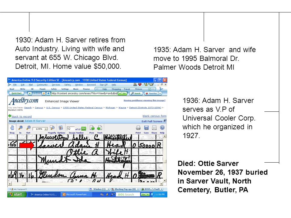 Died: Ottie Sarver November 26, 1937 buried in Sarver Vault, North Cemetery, Butler, PA 1930: Adam H.