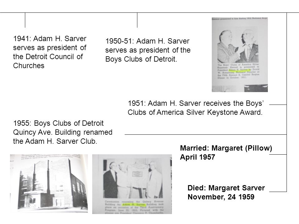 1941: Adam H. Sarver serves as president of the Detroit Council of Churches 1950-51: Adam H.