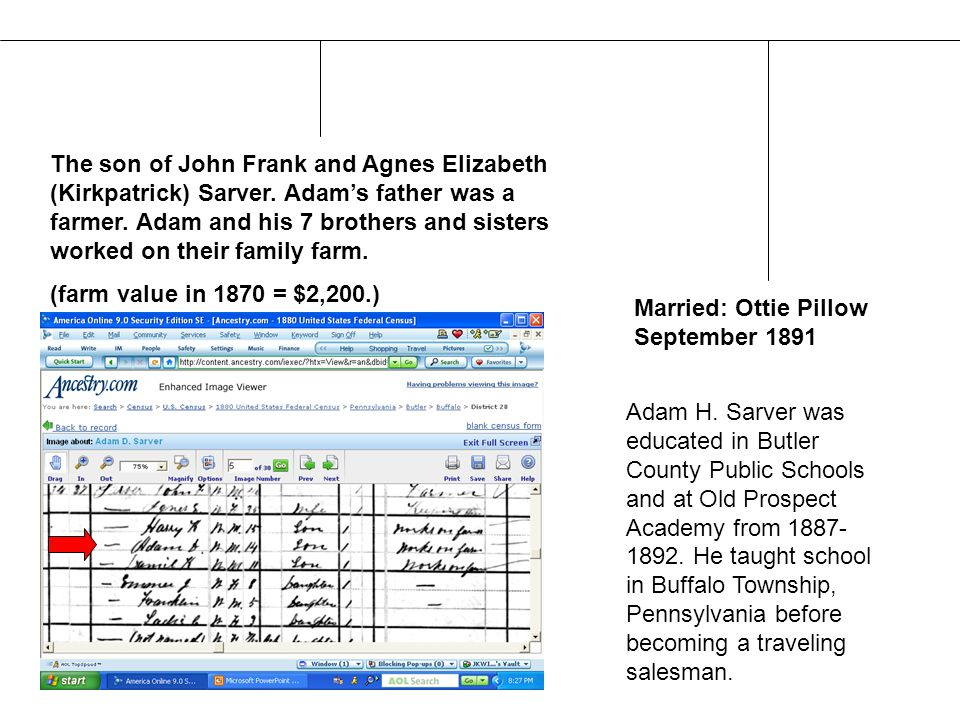 The son of John Frank and Agnes Elizabeth (Kirkpatrick) Sarver.