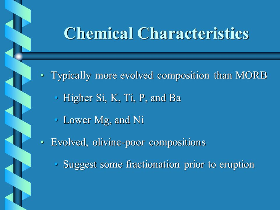 Chemical Characteristics Typically more evolved composition than MORBTypically more evolved composition than MORB Higher Si, K, Ti, P, and BaHigher Si, K, Ti, P, and Ba Lower Mg, and NiLower Mg, and Ni Evolved, olivine-poor compositionsEvolved, olivine-poor compositions Suggest some fractionation prior to eruptionSuggest some fractionation prior to eruption