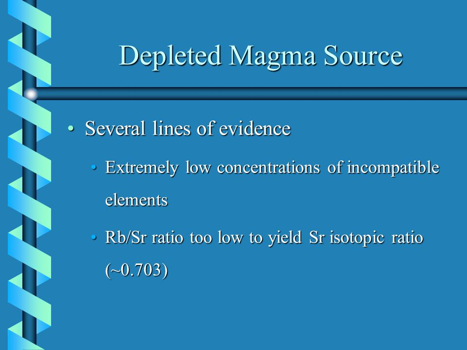 Depleted Magma Source Several lines of evidenceSeveral lines of evidence Extremely low concentrations of incompatible elementsExtremely low concentrations of incompatible elements Rb/Sr ratio too low to yield Sr isotopic ratio (~0.703)Rb/Sr ratio too low to yield Sr isotopic ratio (~0.703)