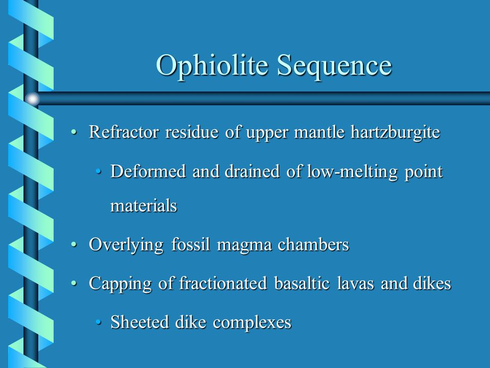 Ophiolite Sequence Refractor residue of upper mantle hartzburgiteRefractor residue of upper mantle hartzburgite Deformed and drained of low-melting point materialsDeformed and drained of low-melting point materials Overlying fossil magma chambersOverlying fossil magma chambers Capping of fractionated basaltic lavas and dikesCapping of fractionated basaltic lavas and dikes Sheeted dike complexesSheeted dike complexes