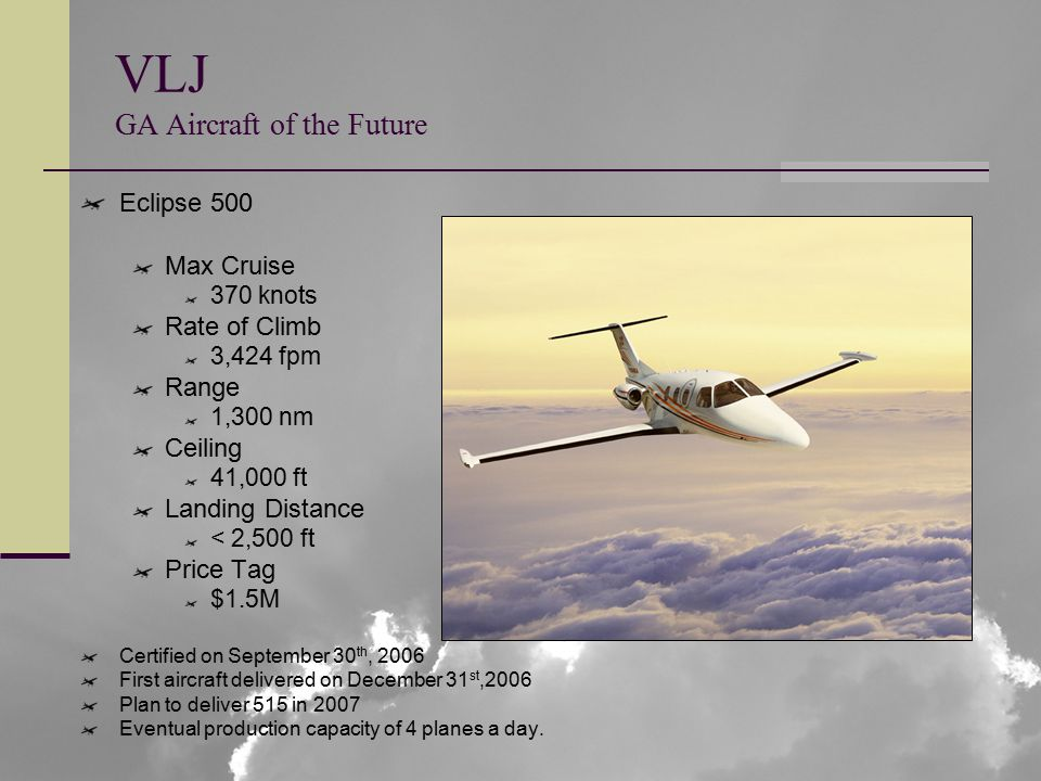 VLJ GA Aircraft of the Future Eclipse 500 Max Cruise 370 knots Rate of Climb 3,424 fpm Range 1,300 nm Ceiling 41,000 ft Landing Distance < 2,500 ft Price Tag $1.5M Certified on September 30 th, 2006 First aircraft delivered on December 31 st,2006 Plan to deliver 515 in 2007 Eventual production capacity of 4 planes a day.