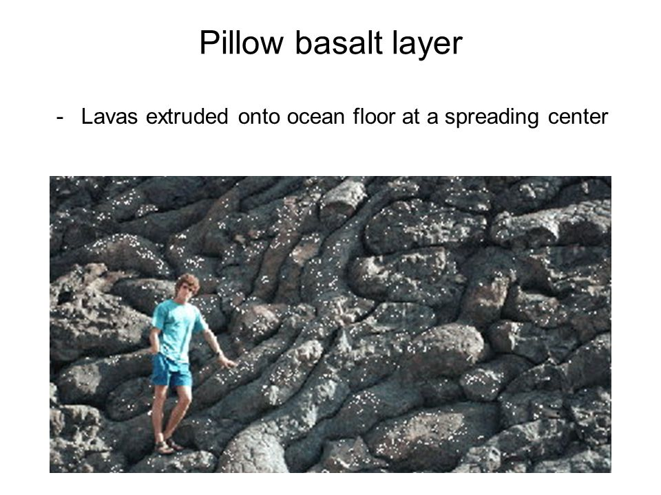 -Lavas extruded onto ocean floor at a spreading center