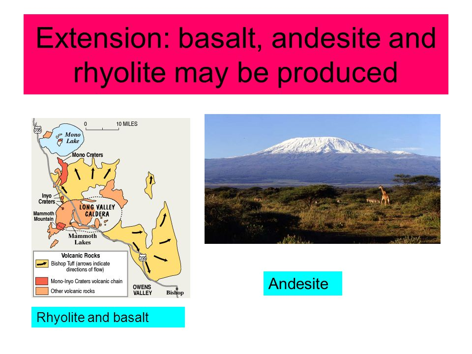 Extension: basalt, andesite and rhyolite may be produced Rhyolite and basalt Andesite
