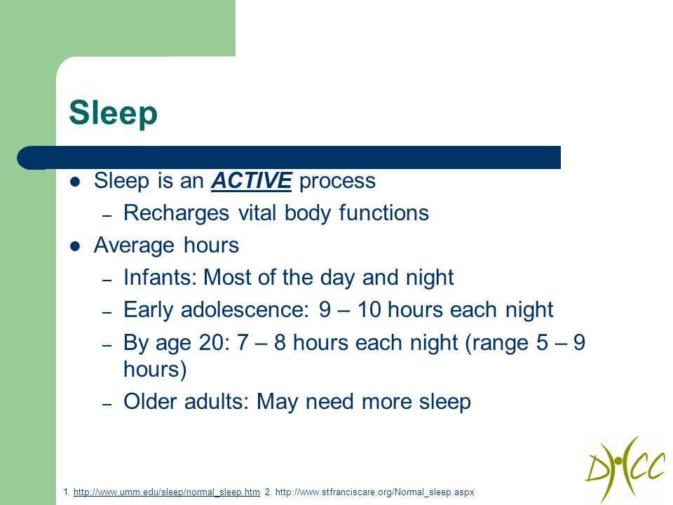 Sleep Sleep is an ACTIVE process – Recharges vital body functions Average hours – Infants: Most of the day and night – Early adolescence: 9 – 10 hours each night – By age 20: 7 – 8 hours each night (range 5 – 9 hours) – Older adults: May need more sleep 1.