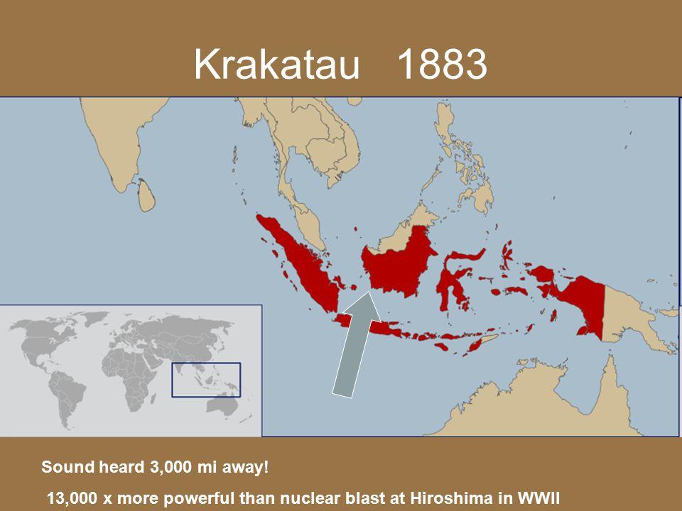 Krakatau 1883 Sound heard 3,000 mi away! 13,000 x more powerful than nuclear blast at Hiroshima in WWII