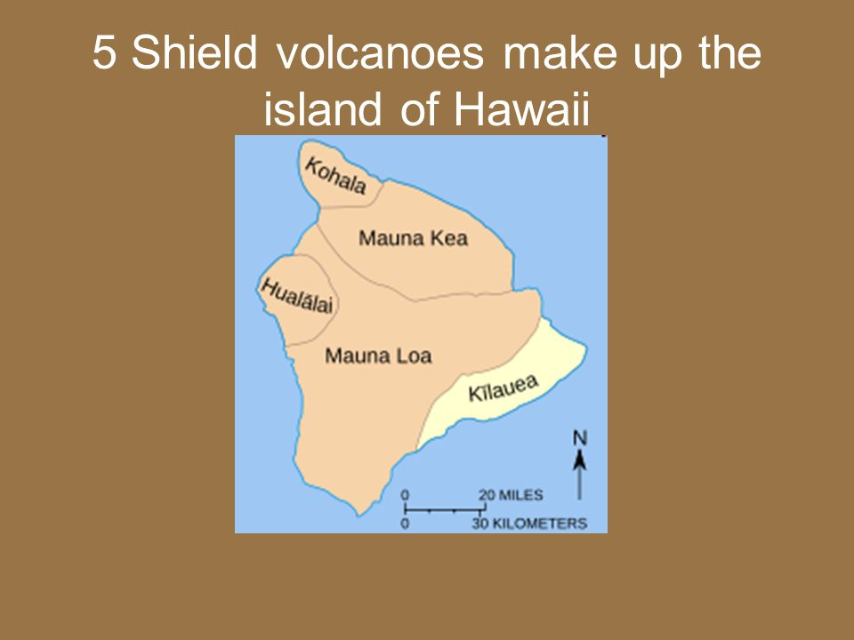 5 Shield volcanoes make up the island of Hawaii