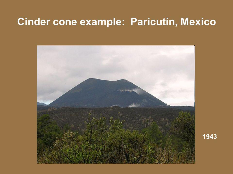 Cinder cone example: Paricutín, Mexico 1943