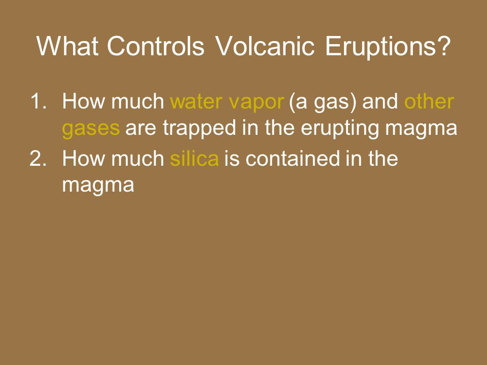 Composition of magma Andesitic magma – more silica than basaltic magma, but less than granitic magma –Common at convergent boundaries –Named after the Andes Mountains in South America –Also violent eruptions –Ex.