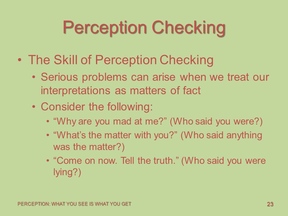 23 PERCEPTION: WHAT YOU SEE IS WHAT YOU GET Perception Checking The Skill of Perception Checking Serious problems can arise when we treat our interpre