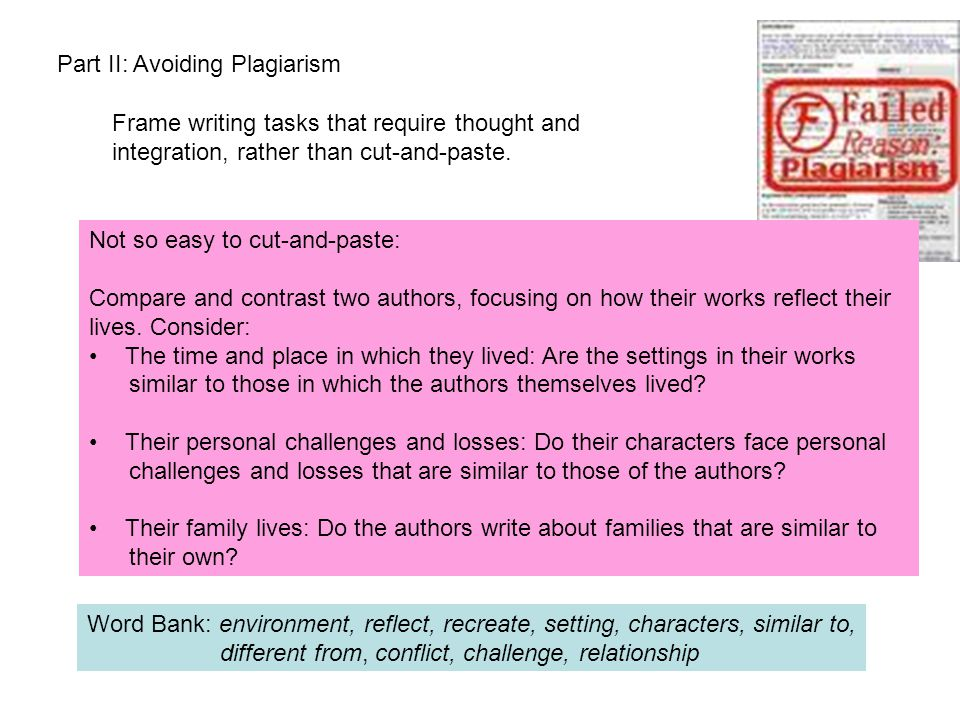 Part II: Avoiding Plagiarism Frame writing tasks that require thought and integration, rather than cut-and-paste.