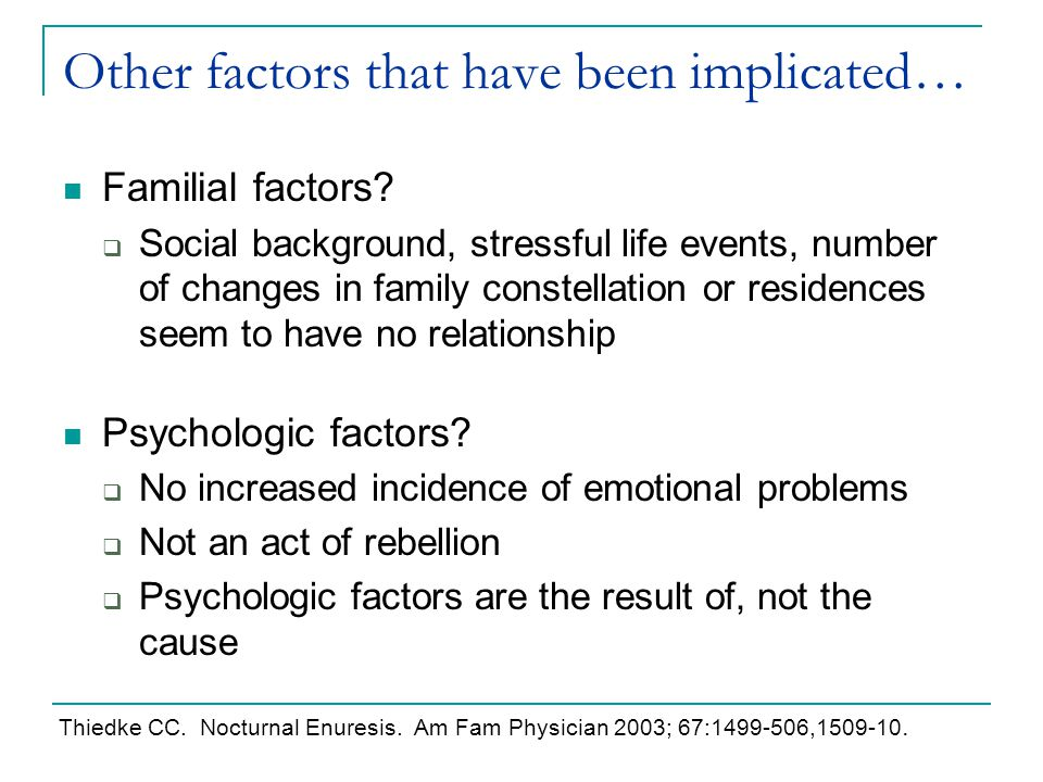 Other factors that have been implicated… Familial factors?  Social background, stressful life events, number of changes in family constellation or re