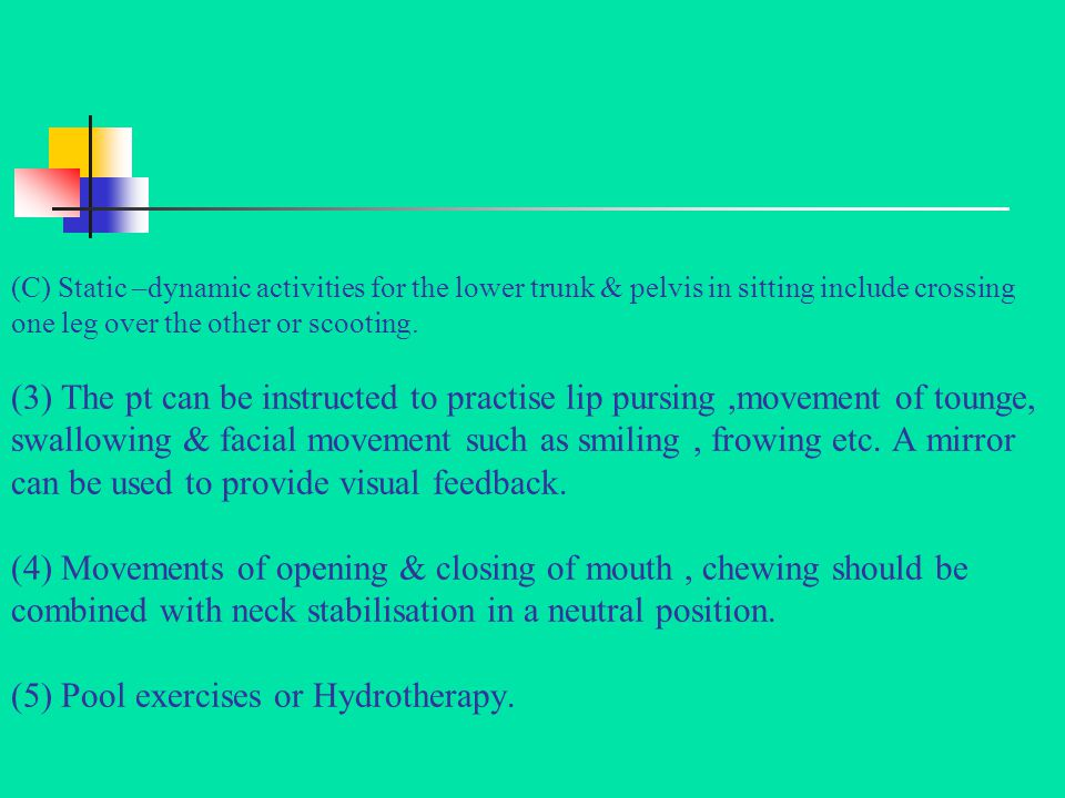 (D) Pelvic mobility ( anterior, posterior & side to side tilt ) exercises on Swiss ball. (E) Wt shifting exercises & upper extremities reaching activi