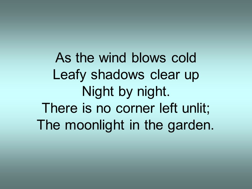 As the wind blows cold Leafy shadows clear up Night by night. There is no corner left unlit; The moonlight in the garden.