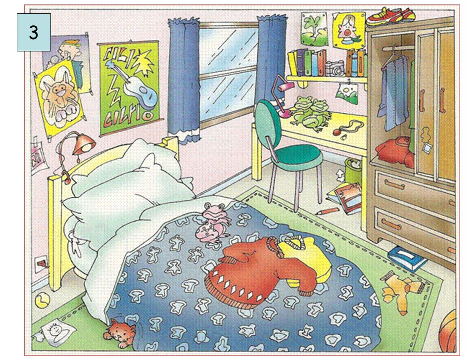 Picture Description – Betty Simelmits Topic: Bedroom Objectives and Enabling Skills: Pupils describe a room using There is / are, adjectives, prepositions and bedroom furniture vocabulary WORD BANKQUESTIONS posters lamp bed ball cat frog/s sweaters socks basketball book/s bin chair window shoes curtain desk carpet pillow blanket camera pencil guitar clown jeans wall shelf floor wardrobe messy tidy winter LEVEL 1  What do you see.