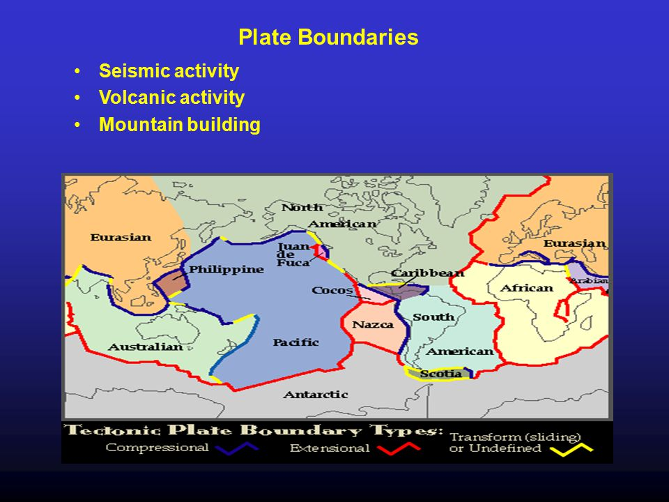 Plate Boundaries Seismic activity Volcanic activity Mountain building