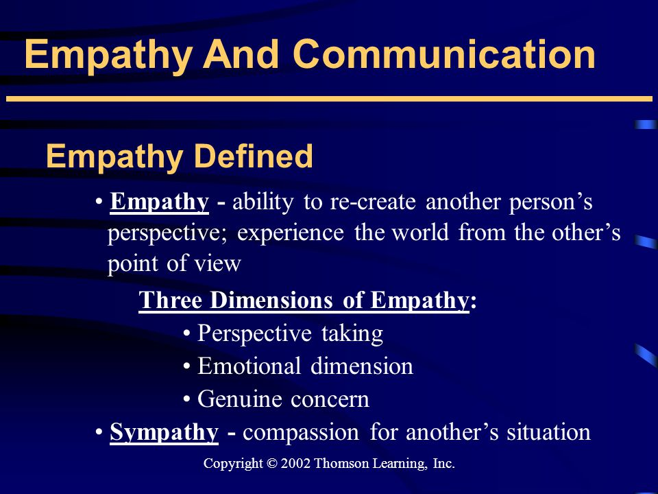 Copyright © 2002 Thomson Learning, Inc. Empathy And Communication Empathy Defined Empathy - ability to re-create another person's perspective; experie