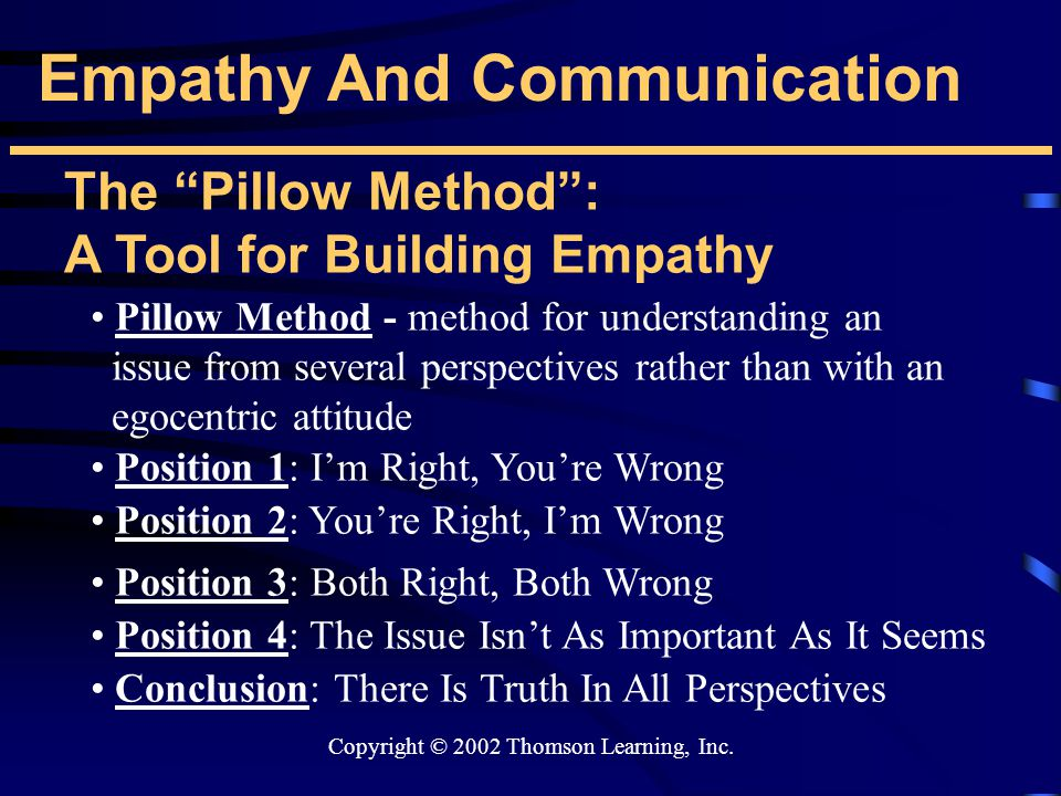 """Copyright © 2002 Thomson Learning, Inc. Empathy And Communication The """"Pillow Method"""": A Tool for Building Empathy Pillow Method - method for understa"""