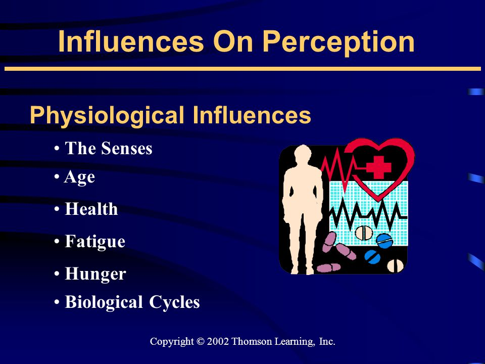 Copyright © 2002 Thomson Learning, Inc. Influences On Perception Physiological Influences The Senses Age Health Hunger Fatigue Biological Cycles
