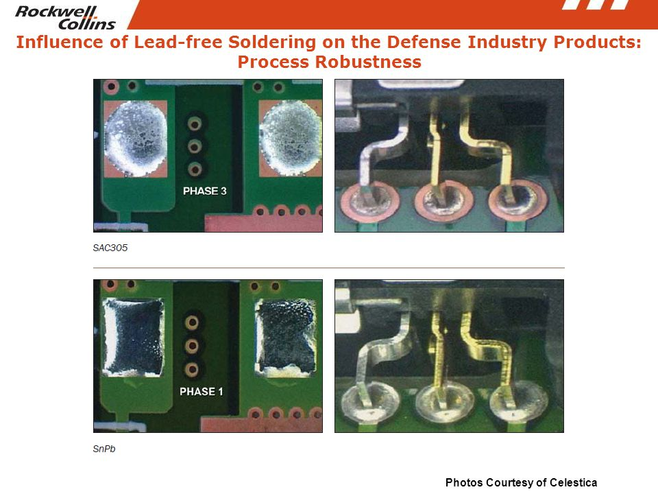 Influence of Lead-free Soldering on the Defense Industry Products: Process Robustness Photos Courtesy of Celestica