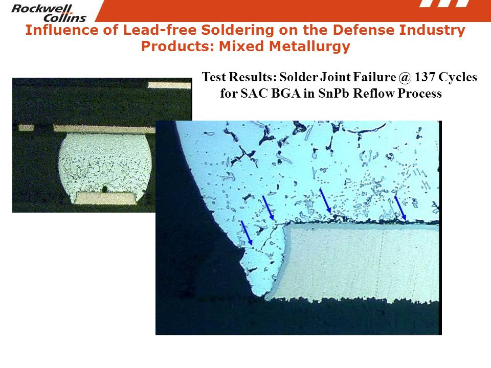 Influence of Lead-free Soldering on the Defense Industry Products: Mixed Metallurgy Test Results: Solder Joint Failure @ 137 Cycles for SAC BGA in SnP