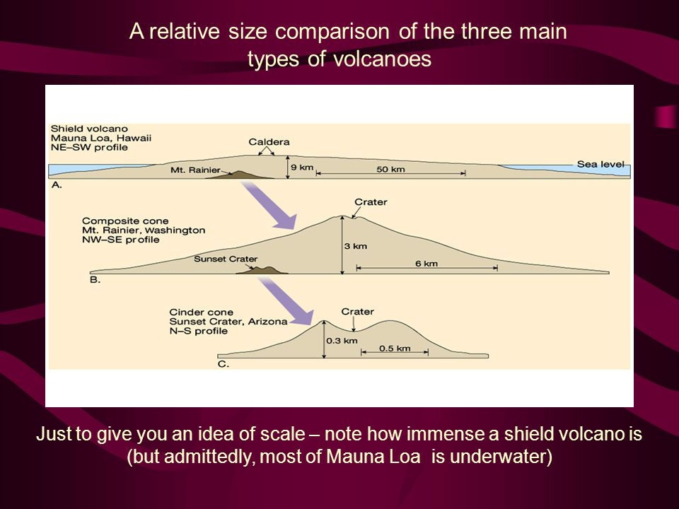 A relative size comparison of the three main types of volcanoes Just to give you an idea of scale – note how immense a shield volcano is (but admitted