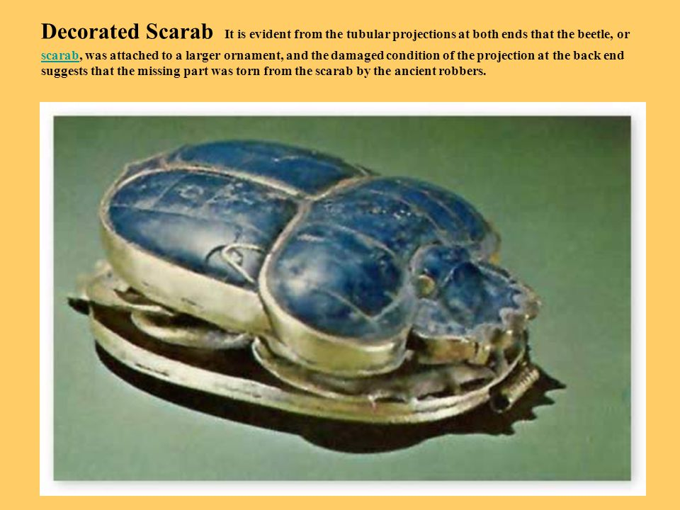 Decorated Scarab It is evident from the tubular projections at both ends that the beetle, or scarab, was attached to a larger ornament, and the damaged condition of the projection at the back end suggests that the missing part was torn from the scarab by the ancient robbers.