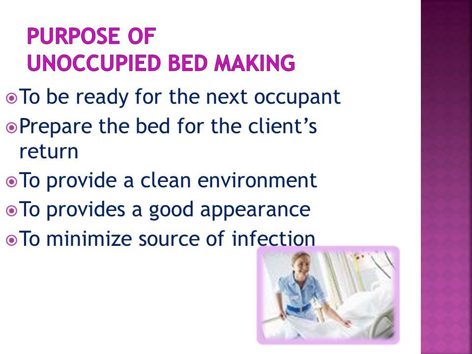  Gloves  Mattress Pad  Bottom Sheet  Cotton draw sheet  A plastic draw sheet  Pillow Case  Top sheet  Blanket  Bed spread  Linen Hamper or bag  Bed side