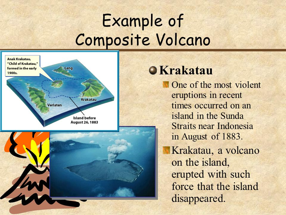 Example of Composite Volcano Krakatau One of the most violent eruptions in recent times occurred on an island in the Sunda Straits near Indonesia in August of 1883.