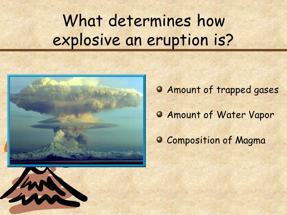 What determines how explosive an eruption is? Amount of trapped gases Amount of Water Vapor Composition of Magma