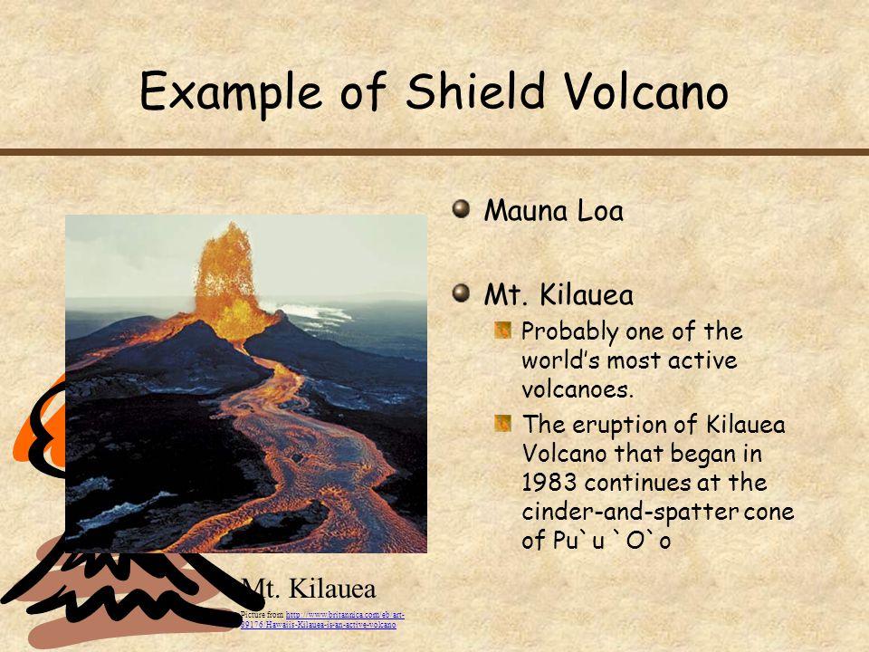 Example of Shield Volcano Mauna Loa Mt.Kilauea Probably one of the world's most active volcanoes.