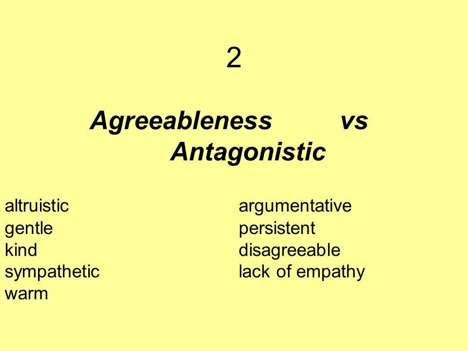 Agreeableness vs Antagonistic altruisticargumentative gentle persistent kind disagreeable sympathetic lack of empathy warm 2
