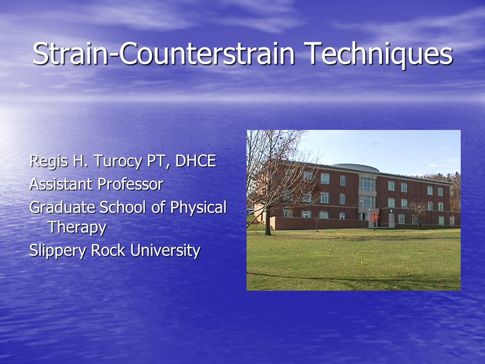 Strain-Counterstrain Techniques Regis H. Turocy PT, DHCE Assistant Professor Graduate School of Physical Therapy Slippery Rock University