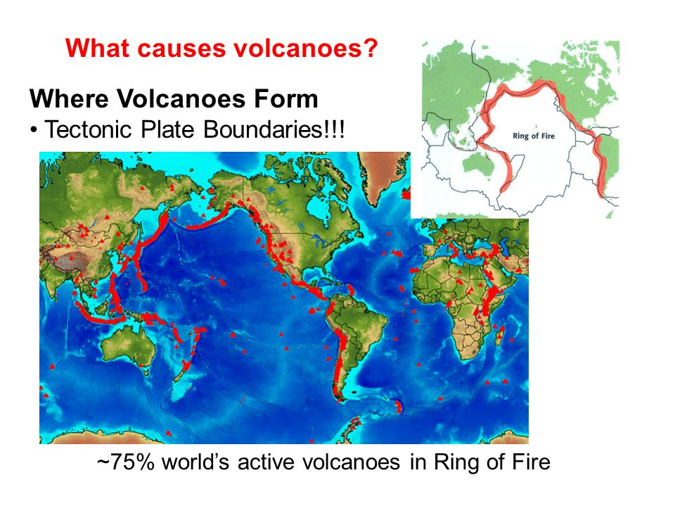 What causes volcanoes? Where Volcanoes Form Tectonic Plate Boundaries!!! ~75% world's active volcanoes in Ring of Fire