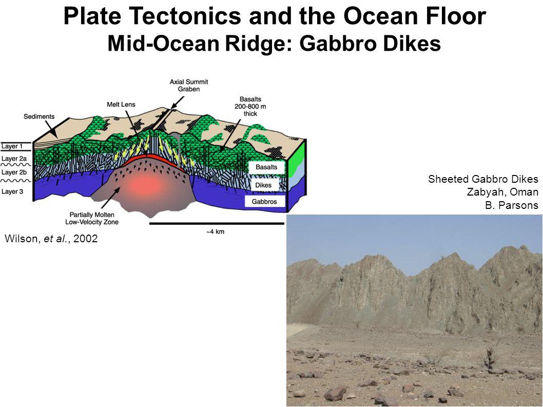 Plate Tectonics and the Ocean Floor Mid-Ocean Ridge: Gabbro Dikes Sheeted Gabbro Dikes Zabyah, Oman B.