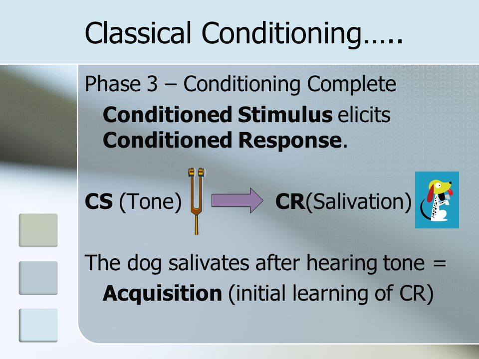 Classical Conditioning….. Phase 3 – Conditioning Complete Conditioned Stimulus elicits Conditioned Response. CS (Tone) CR(Salivation) The dog salivate