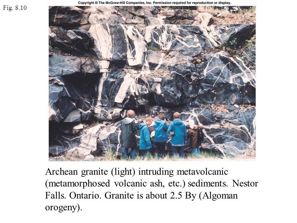Fig. 8.10 Archean granite (light) intruding metavolcanic (metamorphosed volcanic ash, etc.) sediments. Nestor Falls. Ontario. Granite is about 2.5 By
