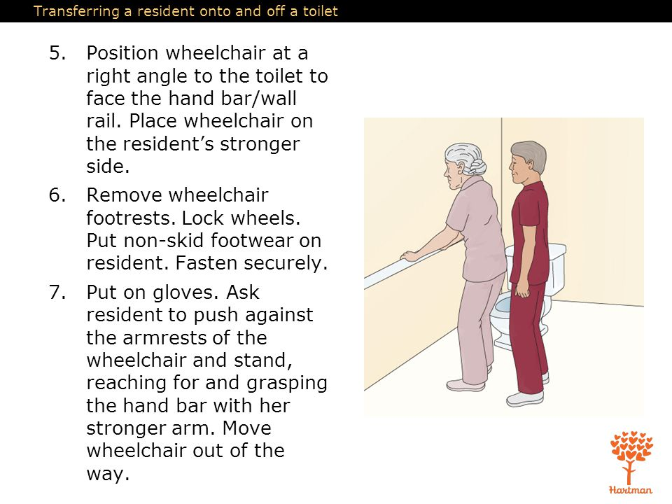 Transferring a resident onto and off a toilet 5.Position wheelchair at a right angle to the toilet to face the hand bar/wall rail. Place wheelchair on